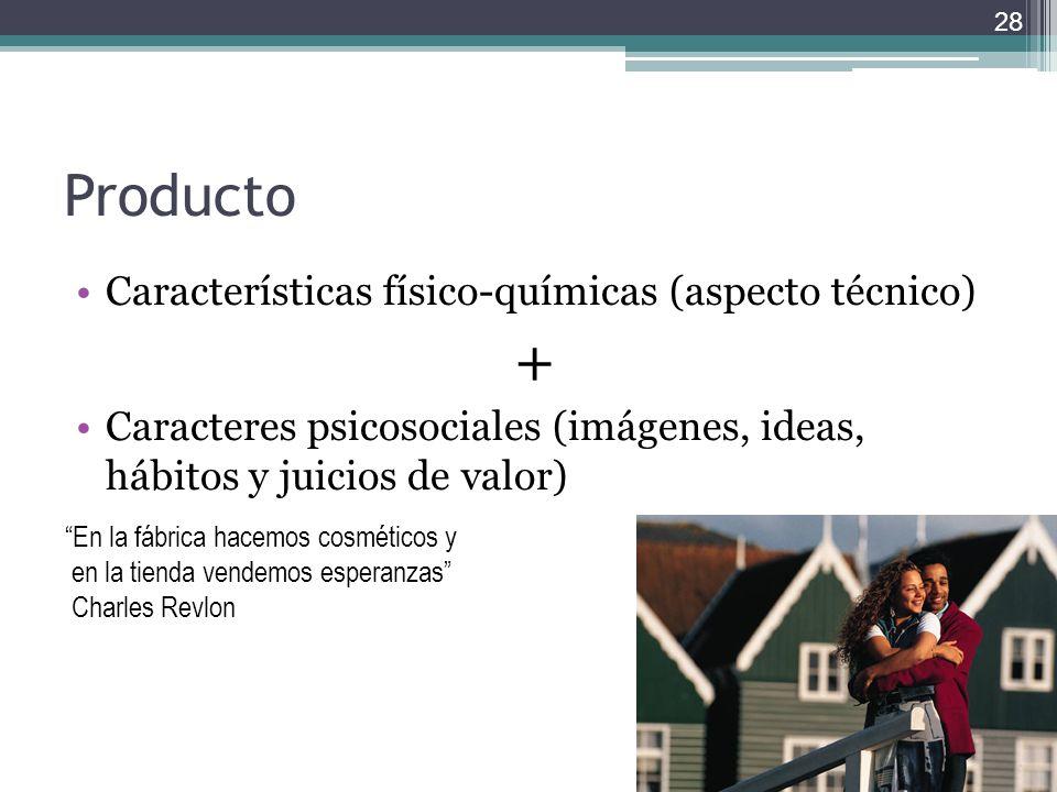 Producto Características físico-químicas (aspecto técnico) + Caracteres psicosociales (imágenes, ideas, hábitos y juicios de valor) 28 En la fábrica h