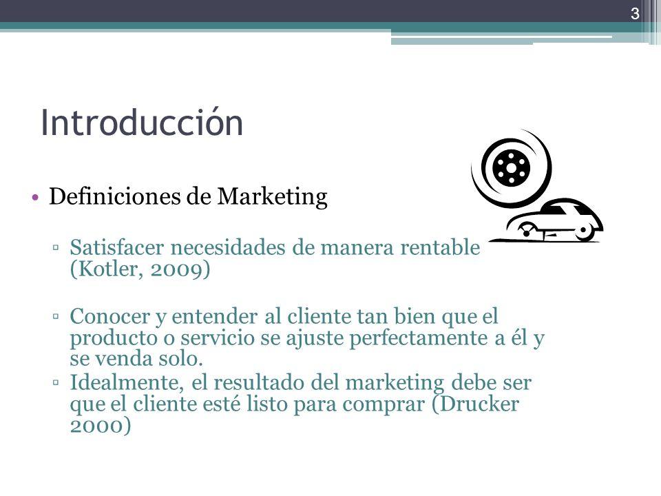 Introducción Definiciones de Marketing Satisfacer necesidades de manera rentable (Kotler, 2009) Conocer y entender al cliente tan bien que el producto