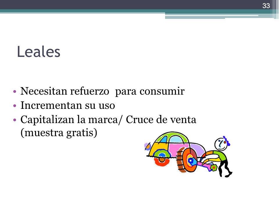 Leales Necesitan refuerzo para consumir Incrementan su uso Capitalizan la marca/ Cruce de venta (muestra gratis) 33