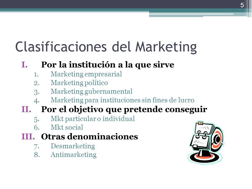 Clasificaciones del Marketing I.Por la institución a la que sirve 1.Marketing empresarial 2.Marketing político 3.Marketing gubernamental 4.Marketing p
