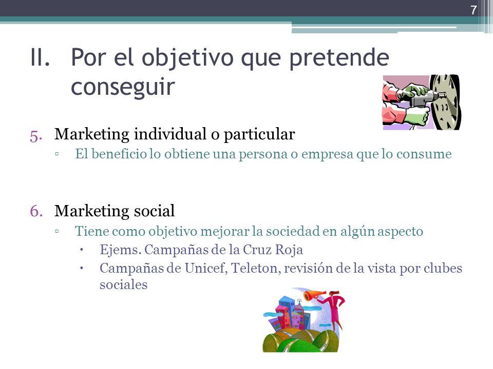 II.Por el objetivo que pretende conseguir 5.Marketing individual o particular El beneficio lo obtiene una persona o empresa que lo consume 6.Marketing