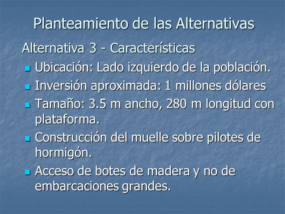 Alternativa 3 - Características Planteamiento de las Alternativas Ubicación: Lado izquierdo de la población. Ubicación: Lado izquierdo de la población