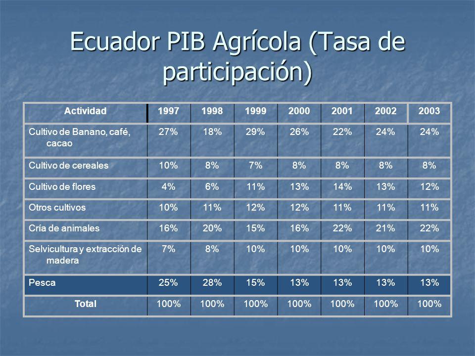 Ecuador PIB Agrícola (Tasa de participación) Actividad1997199819992000200120022003 Cultivo de Banano, café, cacao 27%18%29%26%22%24% Cultivo de cereales10%8%7%8% Cultivo de flores4%6%11%13%14%13%12% Otros cultivos10%11%12% 11% Cría de animales16%20%15%16%22%21%22% Selvicultura y extracción de madera 7%8%10% Pesca25%28%15%13% Total100%