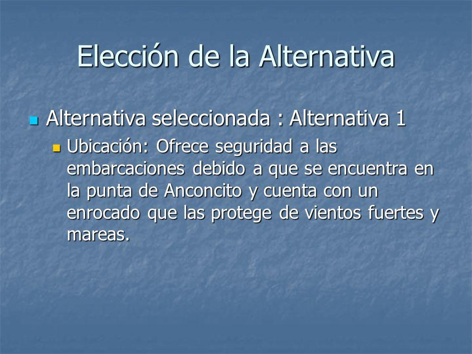 Elección de la Alternativa Alternativa seleccionada : Alternativa 1 Alternativa seleccionada : Alternativa 1 Ubicación: Ofrece seguridad a las embarcaciones debido a que se encuentra en la punta de Anconcito y cuenta con un enrocado que las protege de vientos fuertes y mareas.