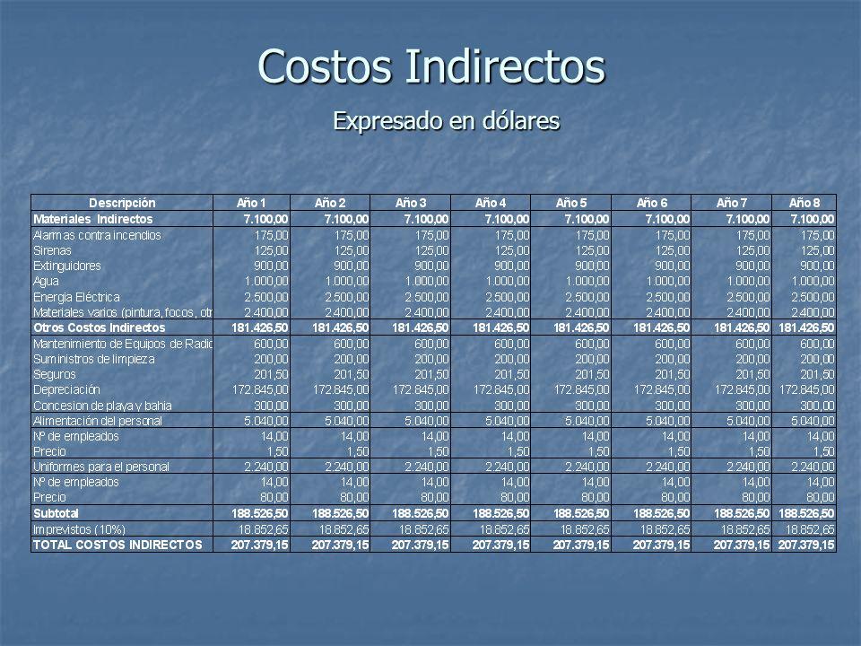 Costos Indirectos Expresado en dólares