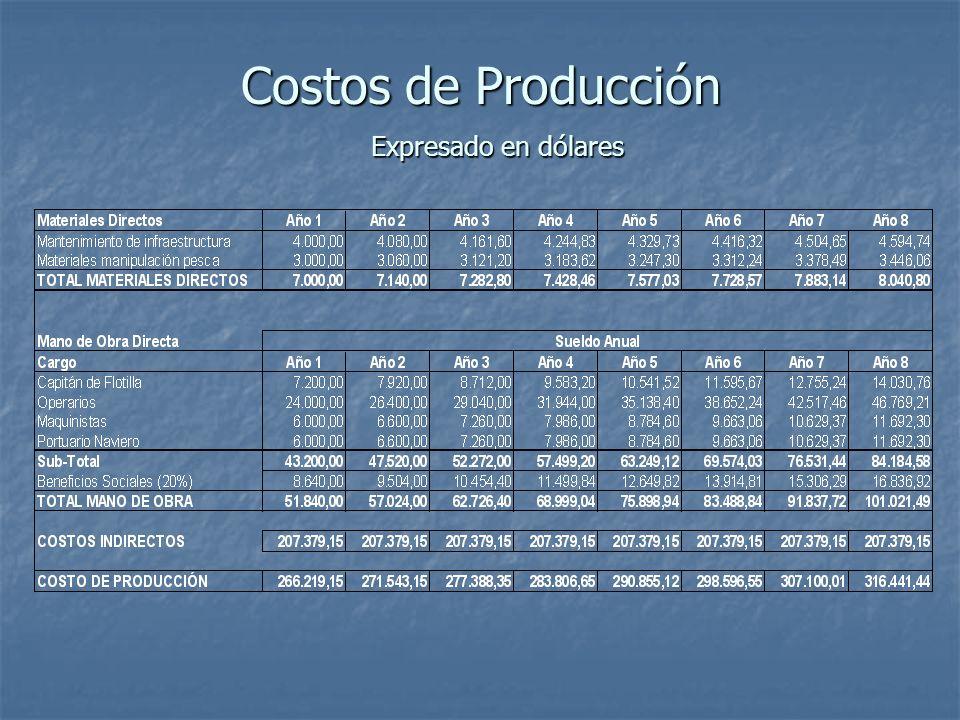 Costos de Producción Expresado en dólares