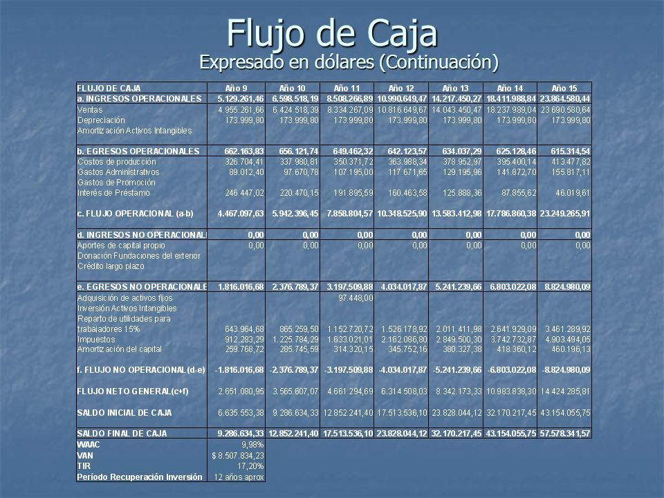 Flujo de Caja Expresado en dólares (Continuación)