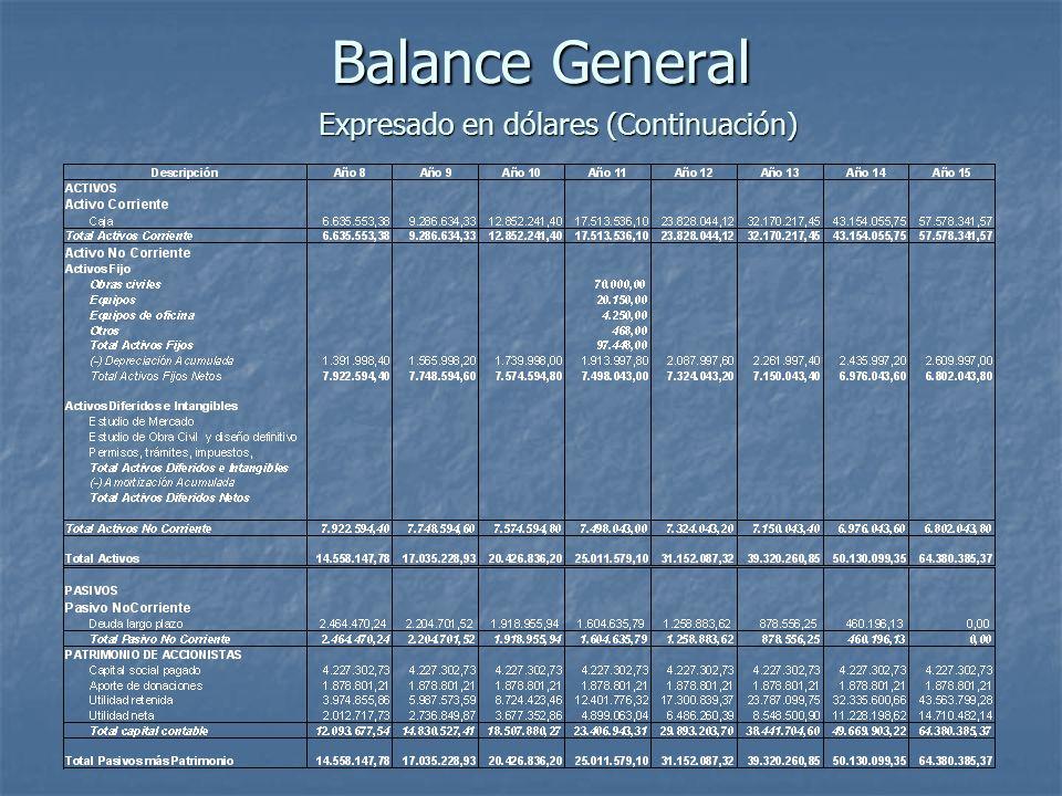 Balance General Expresado en dólares (Continuación)