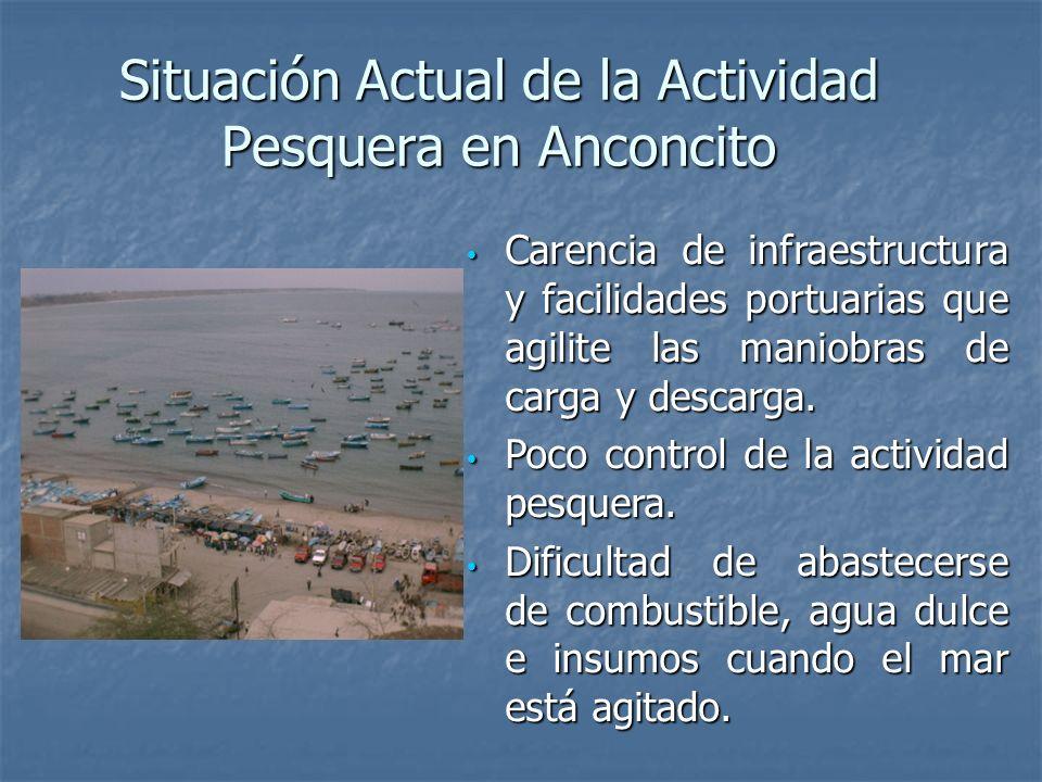 Situación Actual de la Actividad Pesquera en Anconcito Carencia de infraestructura y facilidades portuarias que agilite las maniobras de carga y descarga.