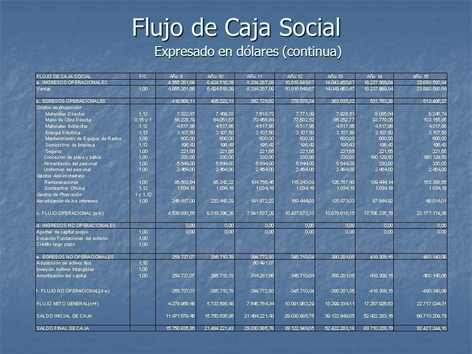 Flujo de Caja Social Expresado en dólares (continua)