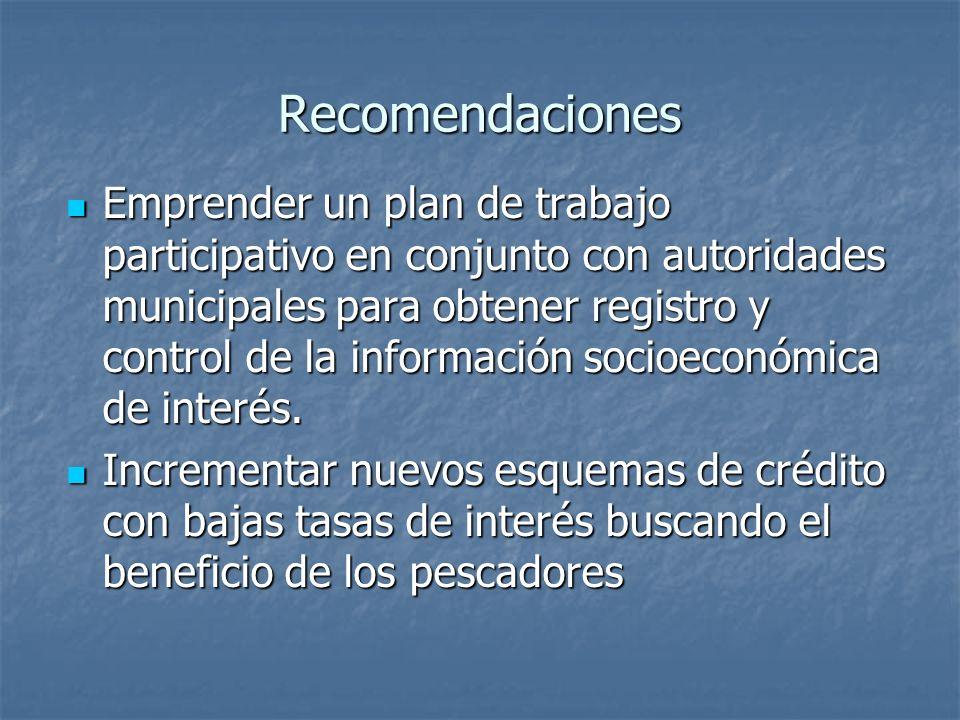 Recomendaciones Emprender un plan de trabajo participativo en conjunto con autoridades municipales para obtener registro y control de la información socioeconómica de interés.
