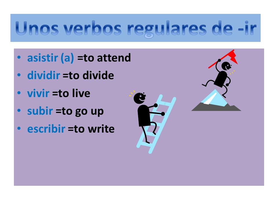 r asistir (a) =to attend dividir =to divide vivir =to live subir =to go up escribir =to write