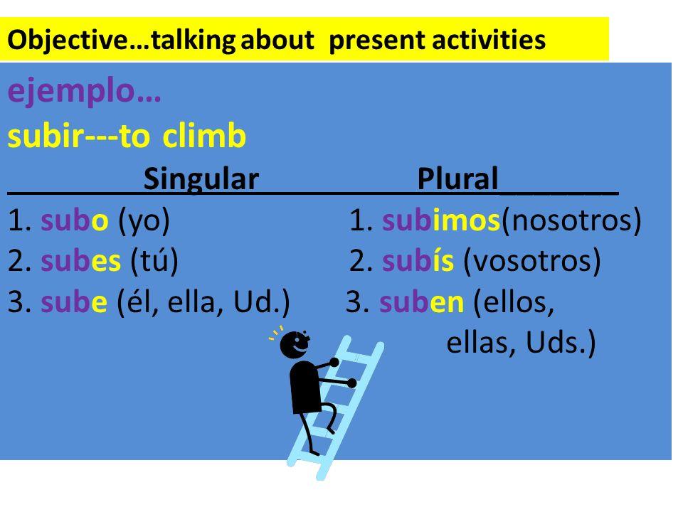 Objective…talking about present activities ejemplo… subir---to climb SingularPlural_______ 1. subo (yo)1. subimos(nosotros) 2. subes (tú)2. subís (vos