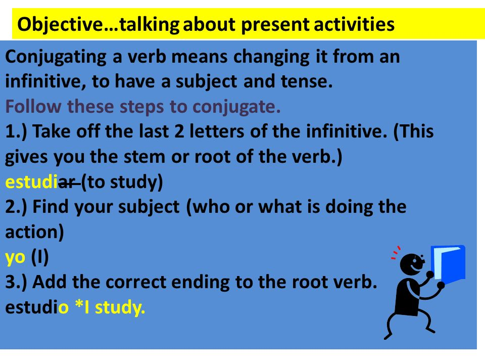 Objective…talking about present activities Conjugating a verb means changing it from an infinitive, to have a subject and tense. Follow these steps to