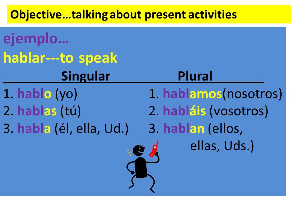 Objective…talking about present activities ejemplo… hablar---to speak SingularPlural_______ 1. hablo (yo)1. hablamos(nosotros) 2. hablas (tú)2. hablái
