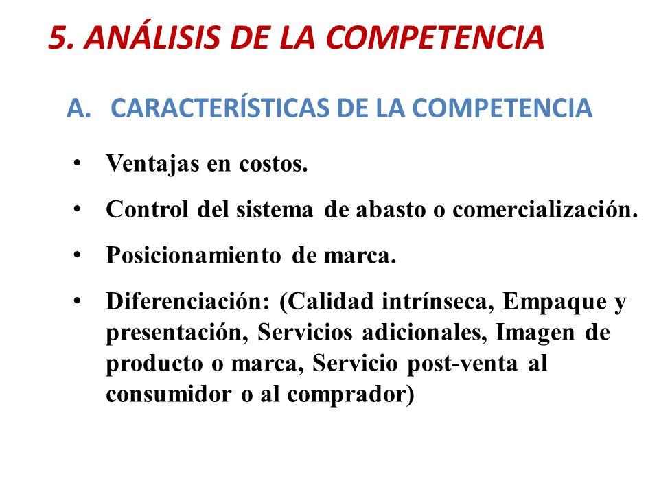 5. ANÁLISIS DE LA COMPETENCIA A.CARACTERÍSTICAS DE LA COMPETENCIA Ventajas en costos. Control del sistema de abasto o comercialización. Posicionamient