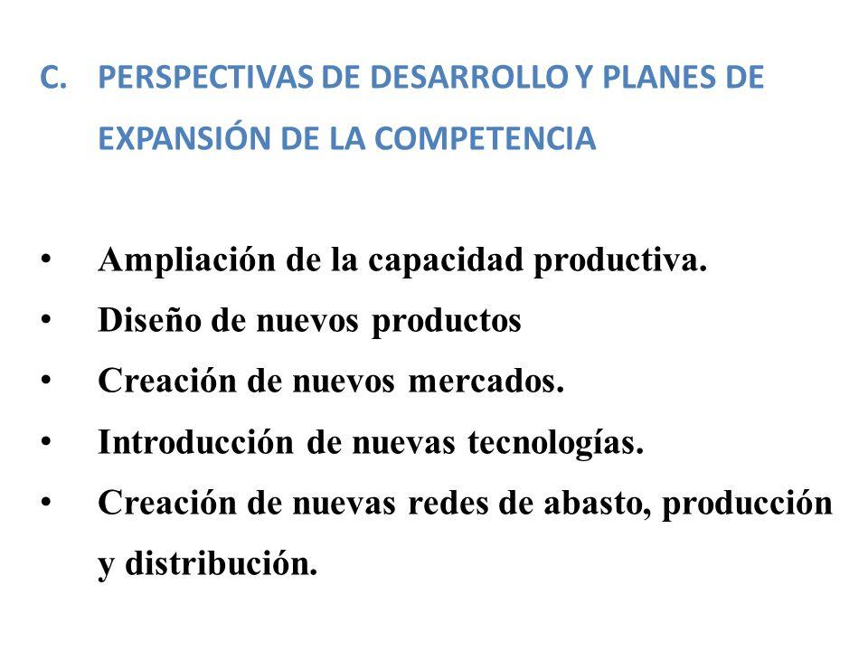 C.PERSPECTIVAS DE DESARROLLO Y PLANES DE EXPANSIÓN DE LA COMPETENCIA Ampliación de la capacidad productiva. Diseño de nuevos productos Creación de nue