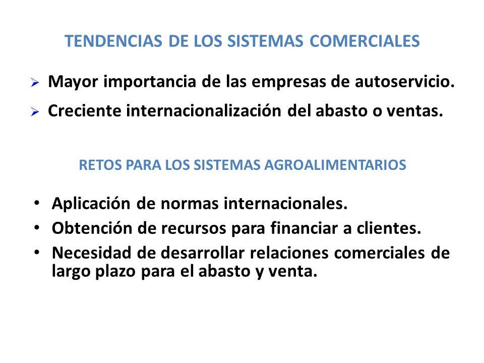 TENDENCIAS DE LOS SISTEMAS COMERCIALES Aplicación de normas internacionales. Obtención de recursos para financiar a clientes. Necesidad de desarrollar