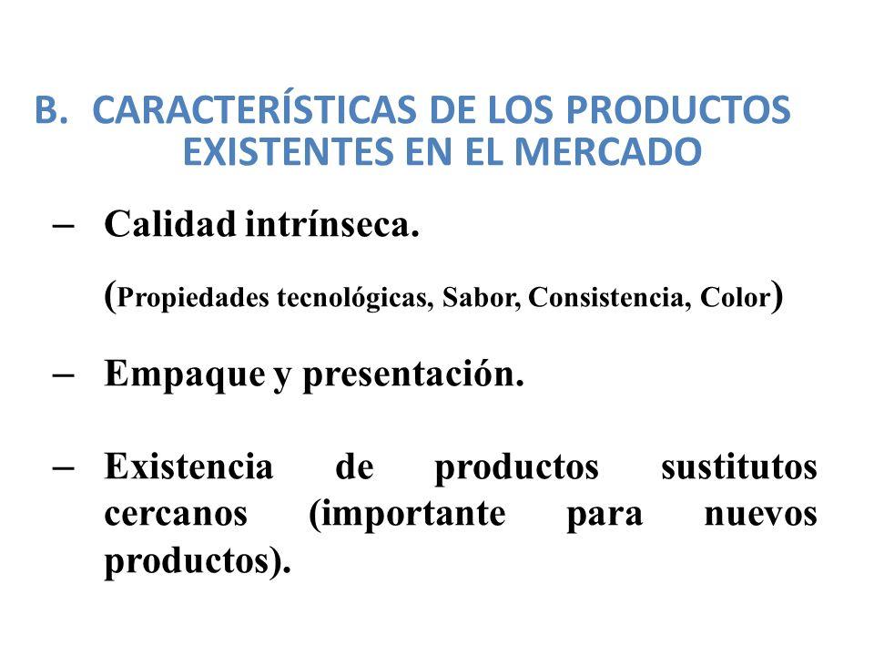 B.CARACTERÍSTICAS DE LOS PRODUCTOS EXISTENTES EN EL MERCADO – Calidad intrínseca. ( Propiedades tecnológicas, Sabor, Consistencia, Color ) – Empaque y