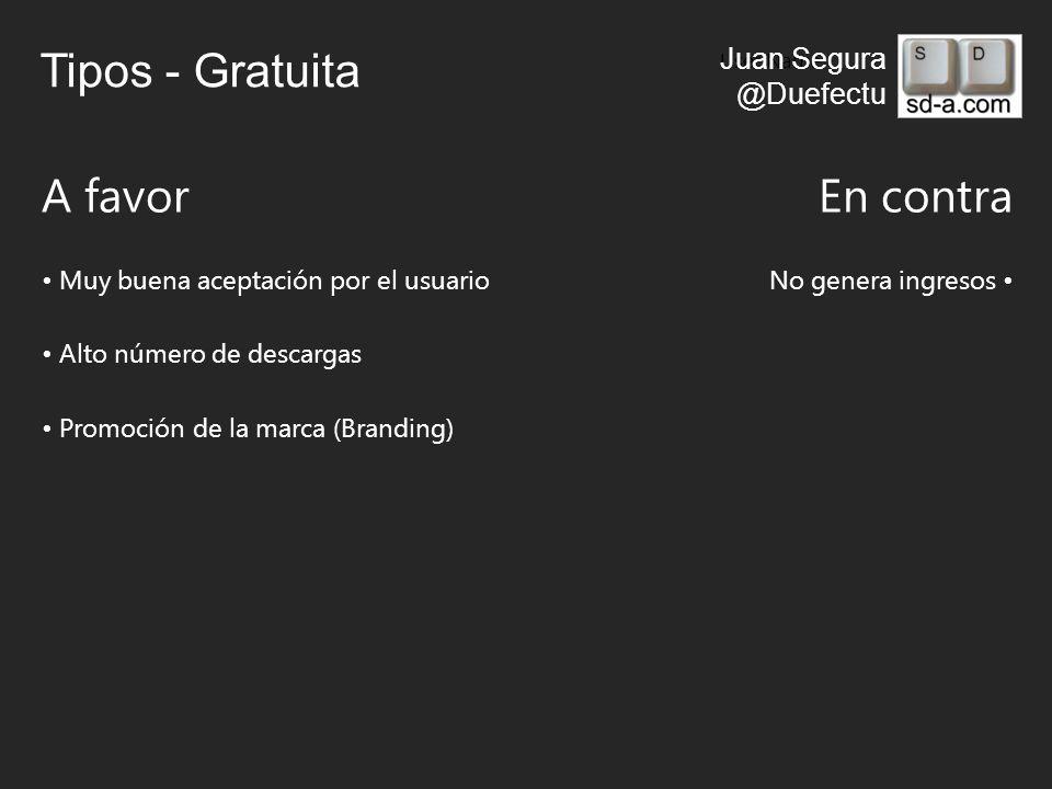 User Name Juan Segura @Duefectu Tipos - Gratuita A favorEn contra Muy buena aceptación por el usuarioNo genera ingresos Alto número de descargas Promoción de la marca (Branding)