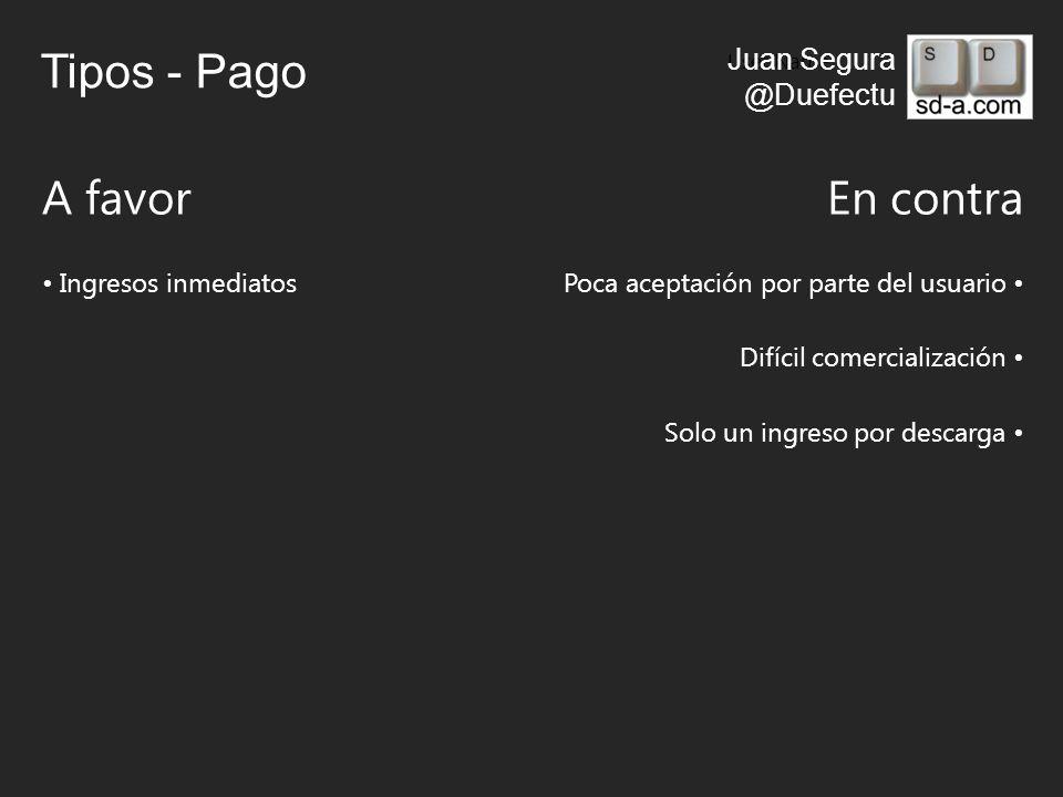 User Name Juan Segura @Duefectu Tipos - Pago A favorEn contra Ingresos inmediatosPoca aceptación por parte del usuario Difícil comercialización Solo un ingreso por descarga