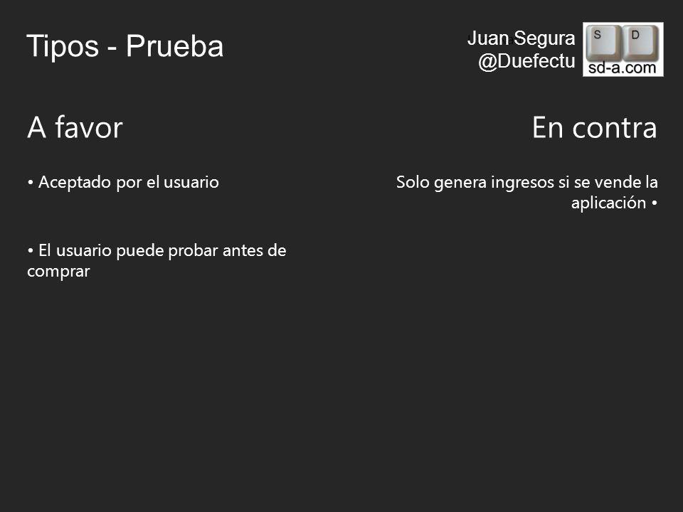 User Name Juan Segura @Duefectu Tipos - Prueba A favorEn contra Aceptado por el usuarioSolo genera ingresos si se vende la aplicación El usuario puede probar antes de comprar