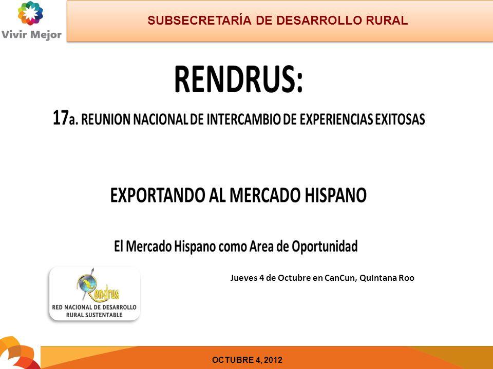 SUBSECRETARÍA DE DESARROLLO RURAL OCTUBRE 4, 2012 Jueves 4 de Octubre en CanCun, Quintana Roo