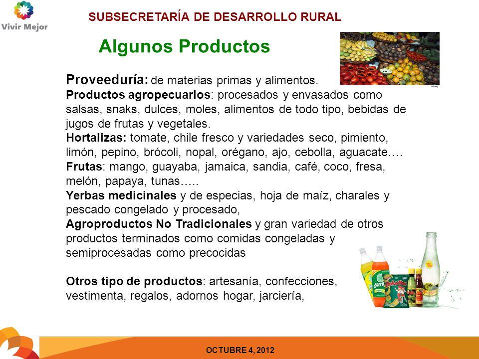 SUBSECRETARÍA DE DESARROLLO RURAL OCTUBRE 4, 2012 Recomendación y Guía de Orientación 1 1.