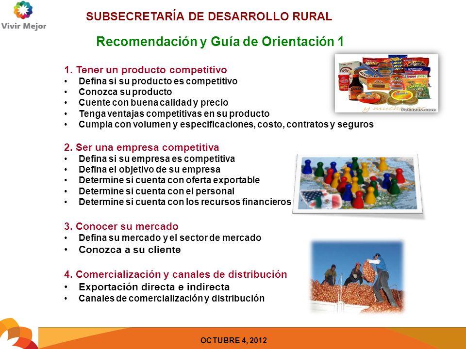 SUBSECRETARÍA DE DESARROLLO RURAL OCTUBRE 4, 2012 Recomendación y Guía de Orientación 2 5.