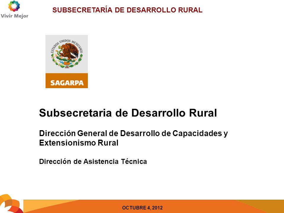 SUBSECRETARÍA DE DESARROLLO RURAL OCTUBRE 4, 2012 Subsecretaria de Desarrollo Rural Dirección General de Desarrollo de Capacidades y Extensionismo Rural Dirección de Asistencia Técnica