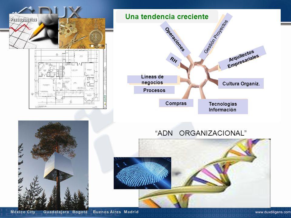 ADN ORGANIZACIONAL Procesos Tecnologías Información Una tendencia creciente Gestión Proyectos Compras Arquitectos Empresariales Líneas de negocios RH