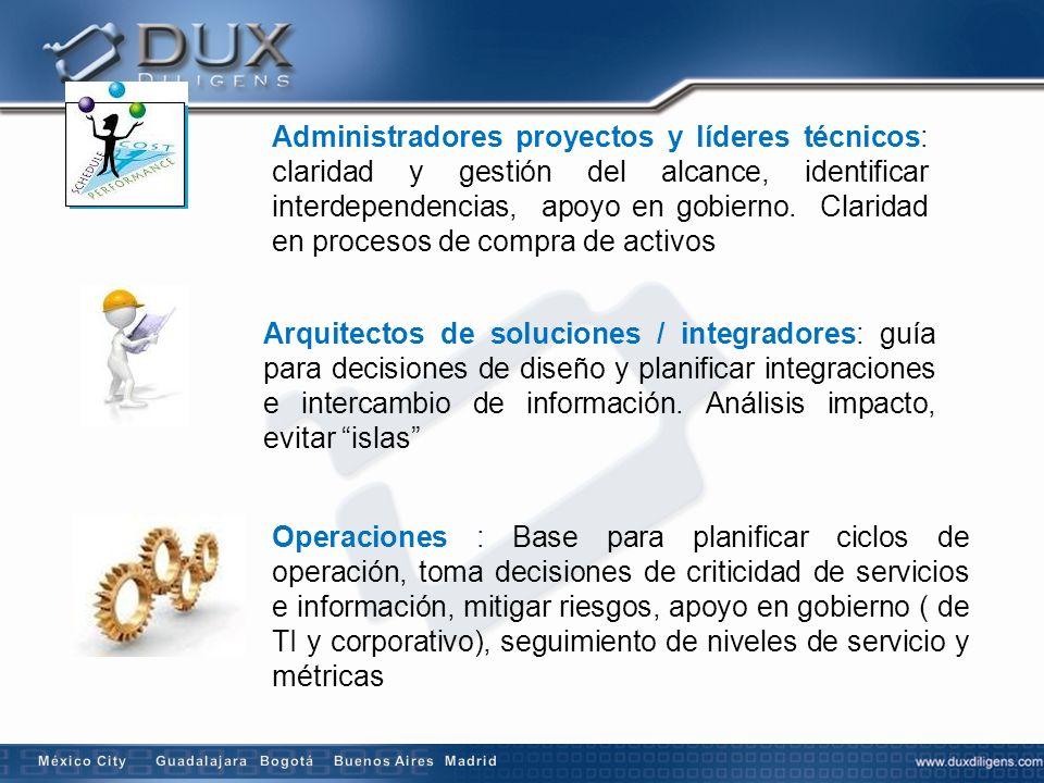 Administradores proyectos y líderes técnicos: claridad y gestión del alcance, identificar interdependencias, apoyo en gobierno. Claridad en procesos d