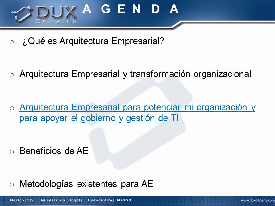 o ¿Qué es Arquitectura Empresarial? o Arquitectura Empresarial y transformación organizacional o Arquitectura Empresarial para potenciar mi organizaci