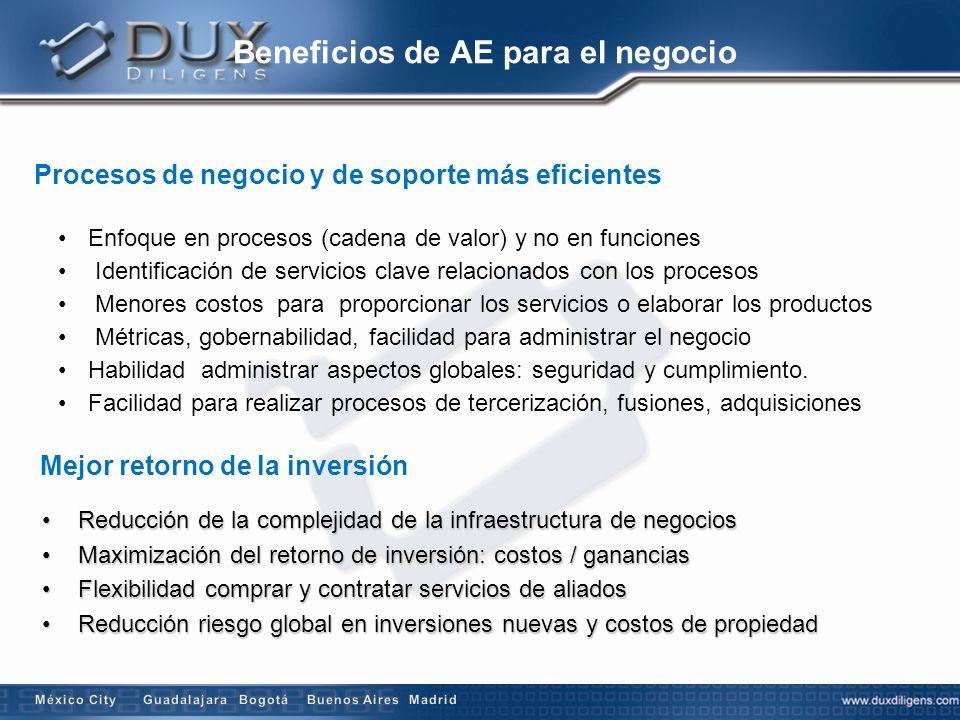 Beneficios de AE para el negocio Procesos de negocio y de soporte más eficientes Mejor retorno de la inversión Enfoque en procesos (cadena de valor) y