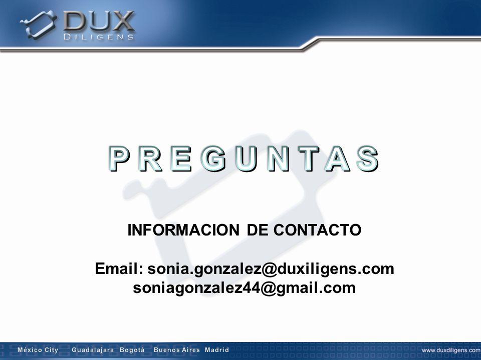 INFORMACION DE CONTACTO Email: sonia.gonzalez@duxiligens.com soniagonzalez44@gmail.com