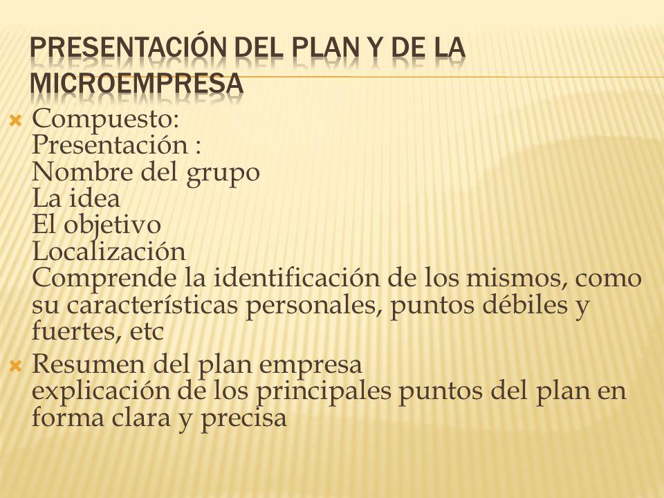 Compuesto: Presentación : Nombre del grupo La idea El objetivo Localización Comprende la identificación de los mismos, como su características persona