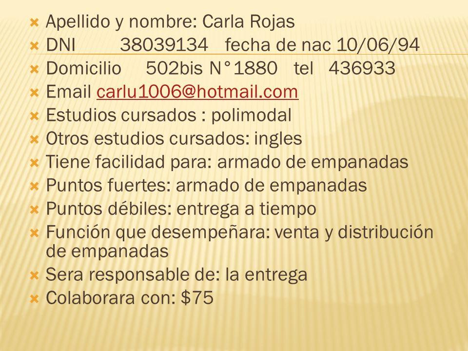 Apellido y nombre: Carla Rojas DNI 38039134 fecha de nac 10/06/94 Domicilio 502bis N°1880 tel 436933 Email carlu1006@hotmail.comcarlu1006@hotmail.com