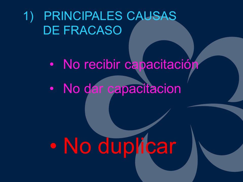 No recibir capacitación No dar capacitacion No duplicar 1) PRINCIPALES CAUSAS DE FRACASO