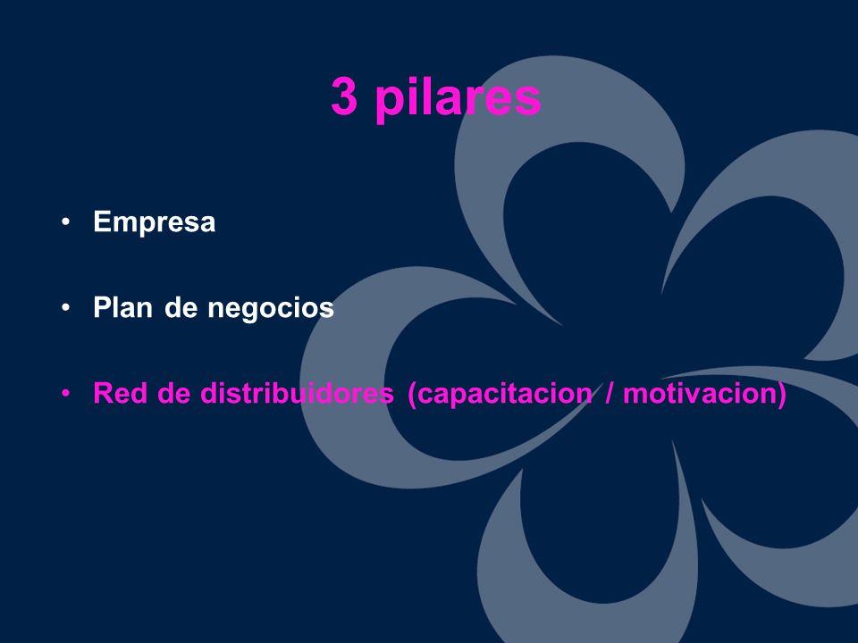 Empresa Plan de negocios Red de distribuidores (capacitacion / motivacion) 3 pilares