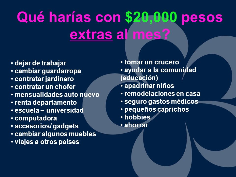 Qué harías con $20,000 pesos extras al mes? dejar de trabajar cambiar guardarropa contratar jardinero contratar un chofer mensualidades auto nuevo ren
