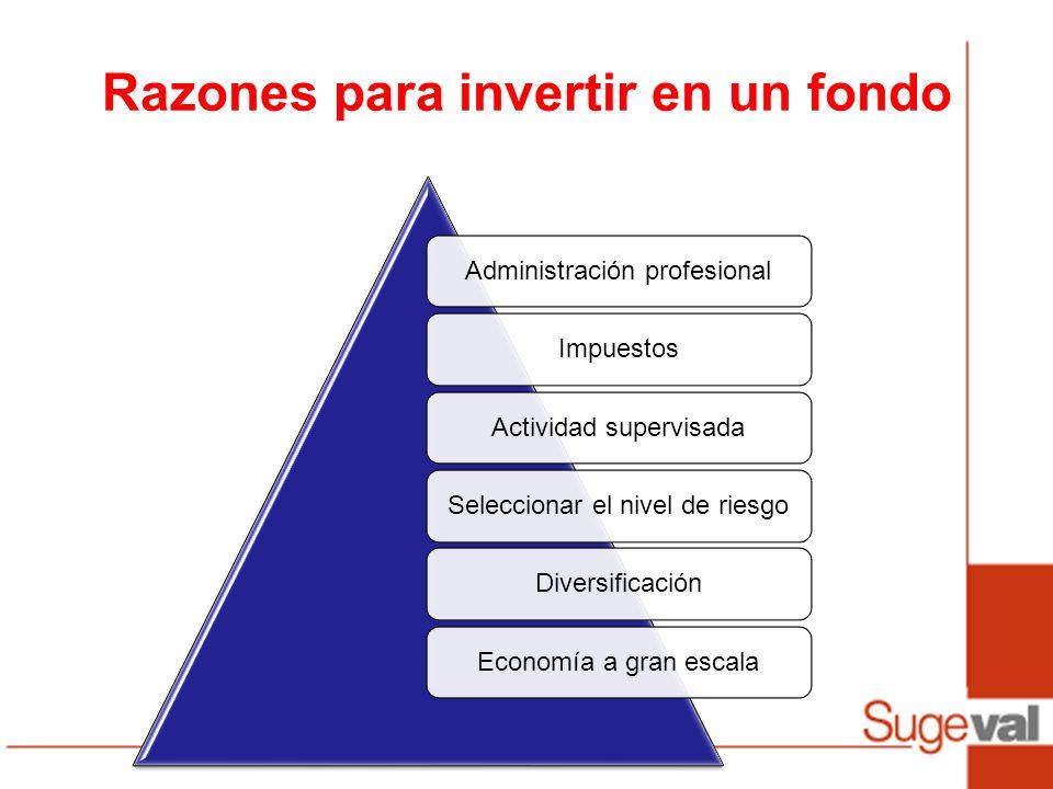 Razones para invertir en un fondo Administración profesionalImpuestosActividad supervisadaSeleccionar el nivel de riesgoDiversificaciónEconomía a gran escala