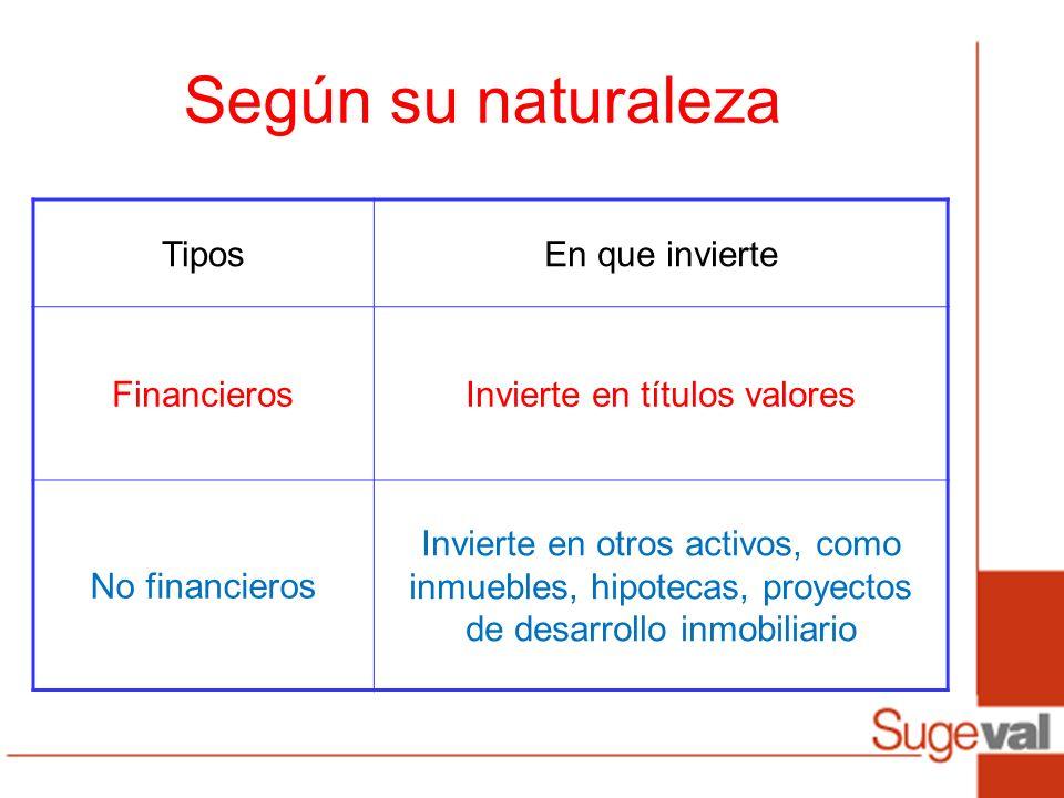 TiposEn que invierte FinancierosInvierte en títulos valores No financieros Invierte en otros activos, como inmuebles, hipotecas, proyectos de desarrol