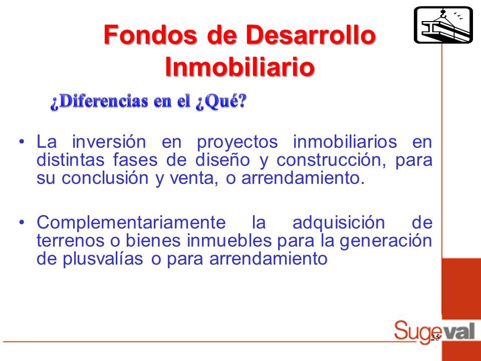 Fondos de Desarrollo Inmobiliario La inversión en proyectos inmobiliarios en distintas fases de diseño y construcción, para su conclusión y venta, o arrendamiento.