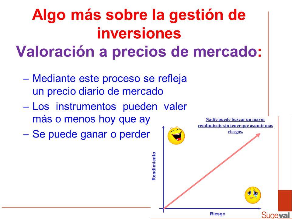 Algo más sobre la gestión de inversiones Valoración a precios de mercado: –Mediante este proceso se refleja un precio diario de mercado –Los instrumen
