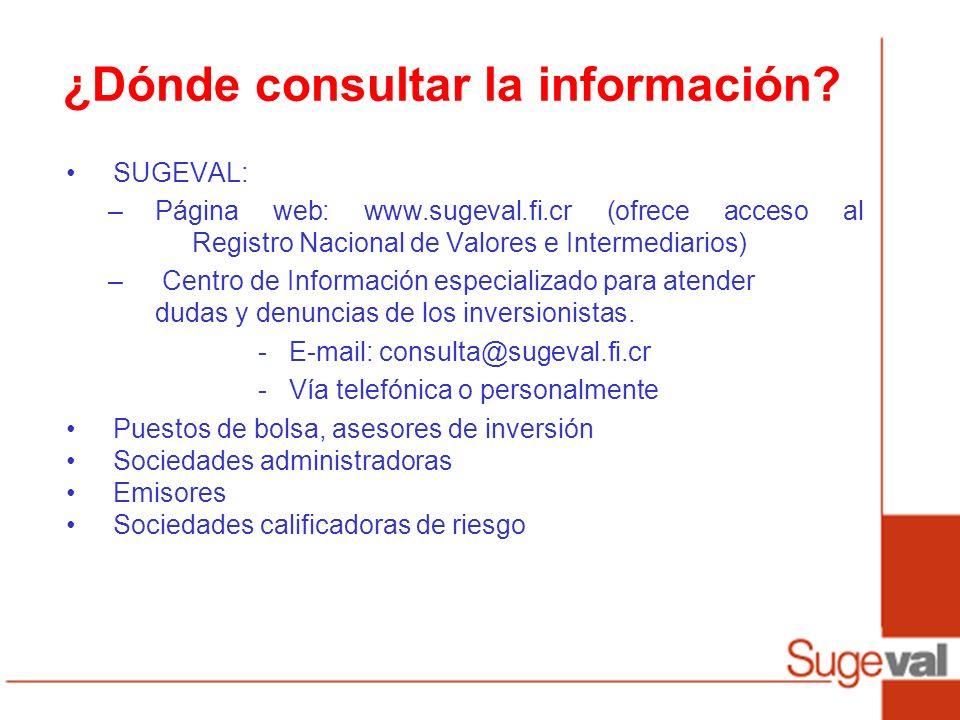 ¿Dónde consultar la información? SUGEVAL: –Página web: www.sugeval.fi.cr (ofrece acceso al Registro Nacional de Valores e Intermediarios) – Centro de
