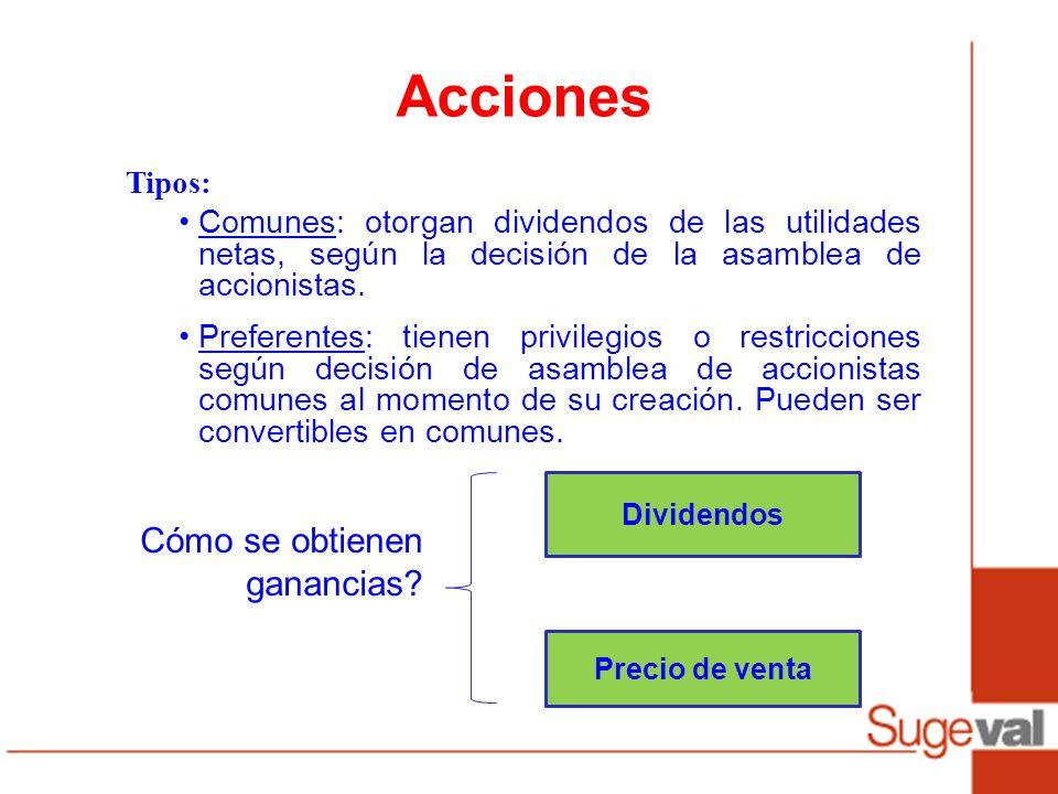 Acciones Dividendos Precio de venta Cómo se obtienen ganancias? Tipos: Comunes: otorgan dividendos de las utilidades netas, según la decisión de la as