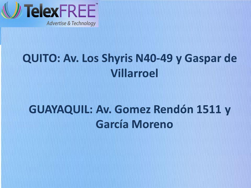 QUITO: Av. Los Shyris N40-49 y Gaspar de Villarroel GUAYAQUIL: Av.