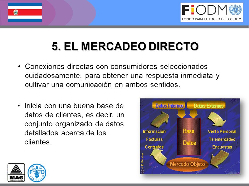 5. EL MERCADEO DIRECTO Conexiones directas con consumidores seleccionados cuidadosamente, para obtener una respuesta inmediata y cultivar una comunica