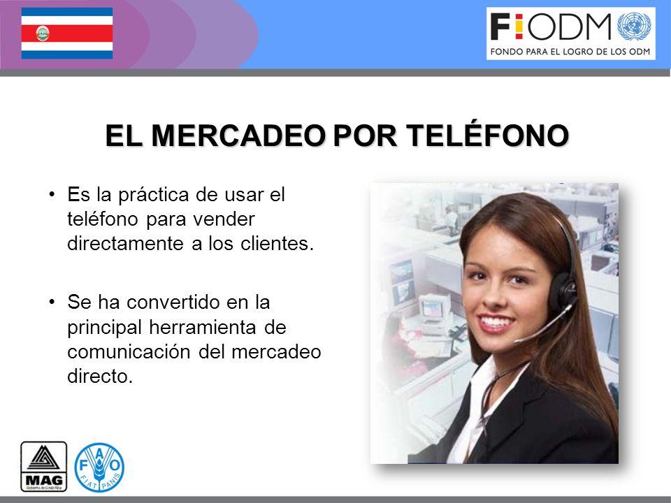 EL MERCADEO POR TELÉFONO Es la práctica de usar el teléfono para vender directamente a los clientes. Se ha convertido en la principal herramienta de c