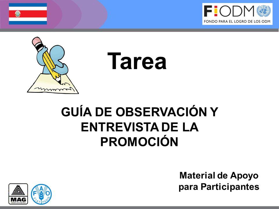 GUÍA DE OBSERVACIÓN Y ENTREVISTA DE LA PROMOCIÓN Material de Apoyo para Participantes Tarea